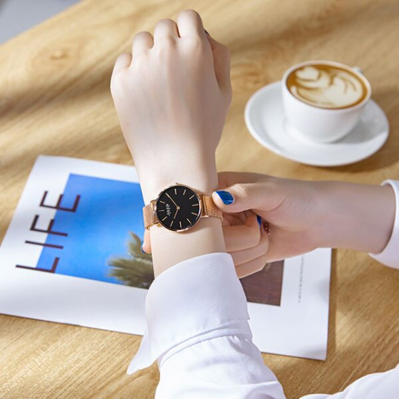 Đồng hồ nữ Julius Star kính sapphire Hàn Quốc JS-027C dây thép (đồng mặt đen)