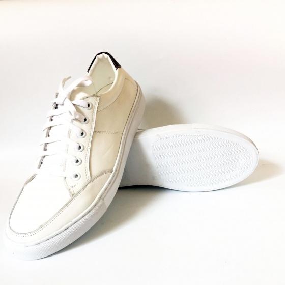 Giày sneaker nam thể thao trắng da thật Geleli