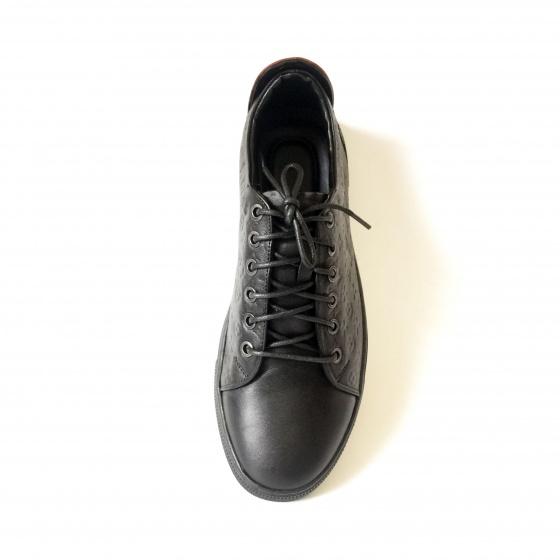 Giày thể thao nam sneaker đen dập vân