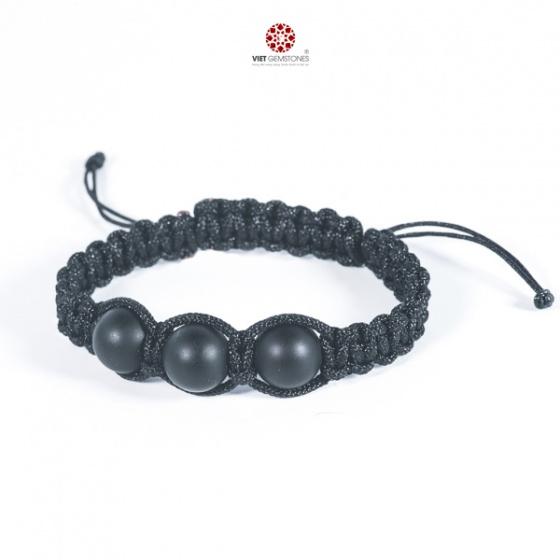 Vòng tay mala Obsidian nhám tự nhiên VietGemstones - BM_OB001