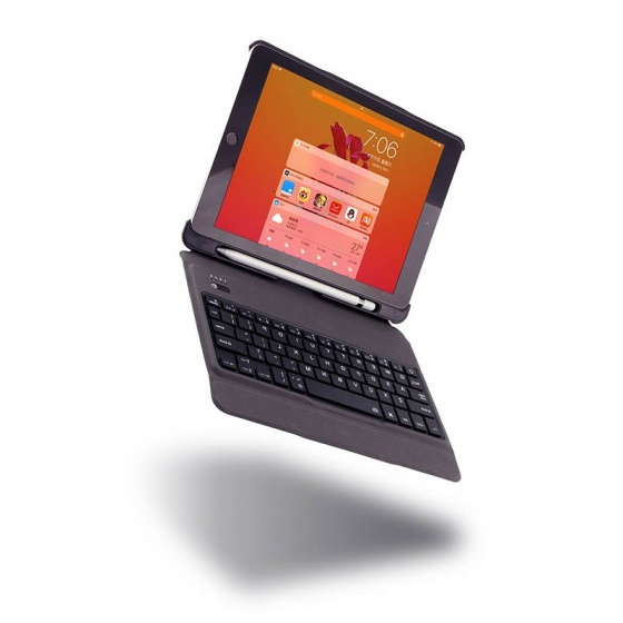 Bàn phím Bluetooth có đèn kèm bao da slim có thể tách rời và khay đựng bút pencil cho iPad 9.7 2018 Promax T201(đen)