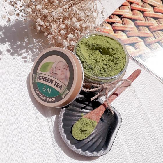 (Tặng xà phòng rửa mặt) mặt nạ bột trà xanh Ecolife
