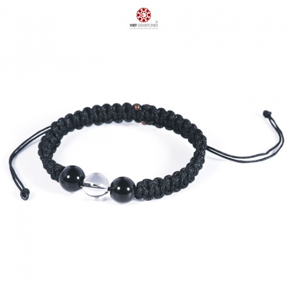 Vòng tay mala Obsidian phối Thạch anh trắng tự nhiên VietGemstones - BM_OB05