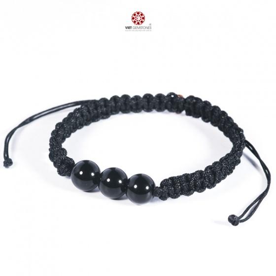 Vòng tay mala Obsidian bóng tự nhiên VietGemstones - BM_OB03