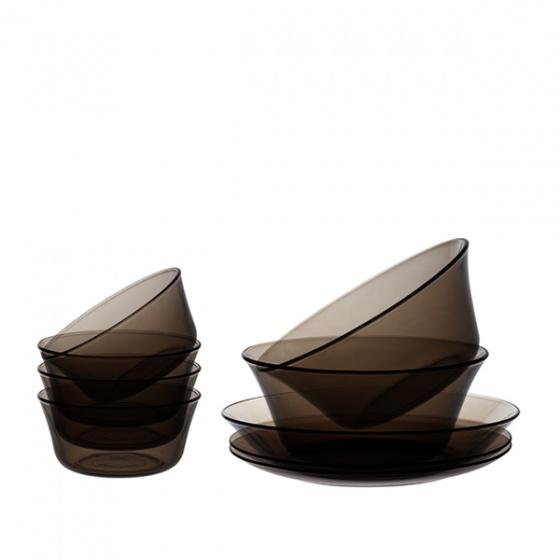Bộ bàn ăn 12 món thủy tinh chịu lực Duralex Pháp Lys nâu khói