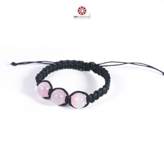Vòng tay mala Thạch anh hồng tự nhiên VietGemstones - BM_ROS02