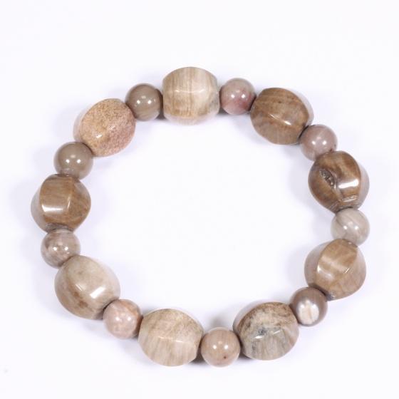 Vòng tay gỗ hóa thạch hạt lục giác màu vàng nâu