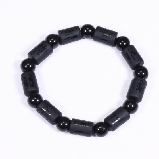 Vòng tay đá obsidian đốt trụ lục tự đại minh chú 12x8mm mệnh thủy, mộc- Ngọc Quý Gemstones