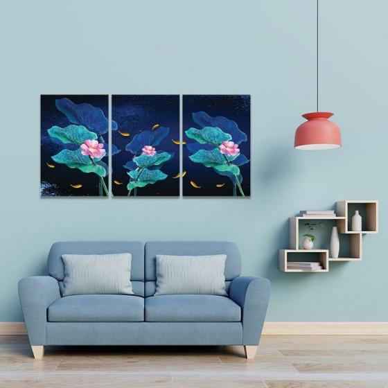 Bộ 3 tranh hoa và đàn cá vàng W3972