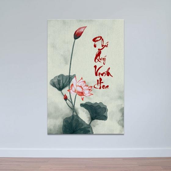 Tranh hoa sen, tranh thư pháp chữ Phú Quý Vinh Hoa W3965