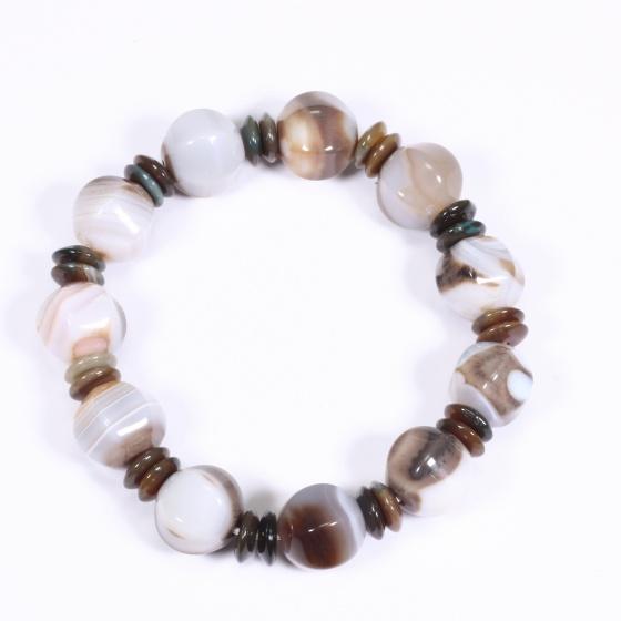 Vòng tay Đá mã não (Agate) viên lục giác 12mm - Ngọc Quý Gemstones