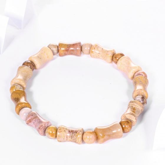 Vòng tay đá san hô hóa thạch màu vàng đốt 12x8mm mệnh thủy, kim - Ngọc Quý Gemstones