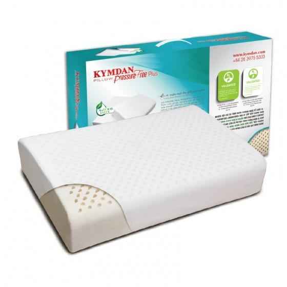 Gối cao su thiên nhiên Kymdan Pillow PressureFree Plus 60 x 38 x 10/11 cm - tặng 1 áo gối