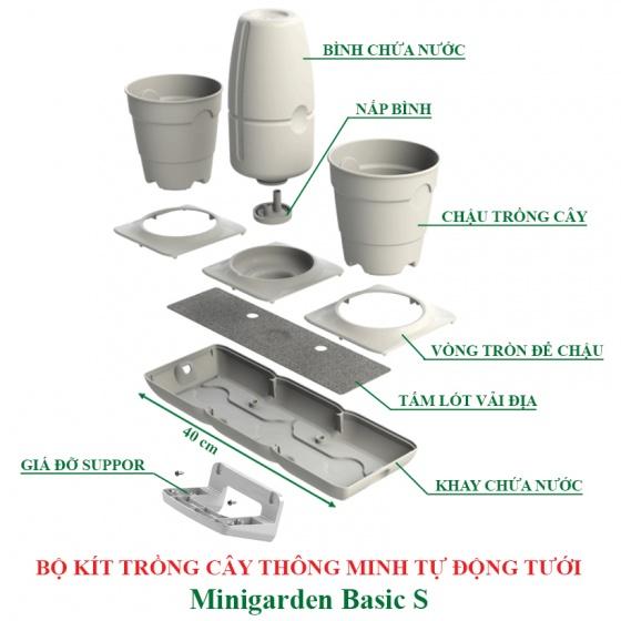 Chậu trồng cây văn phòng thông minh tự động tưới Minigarden Basic S, tự động tưới