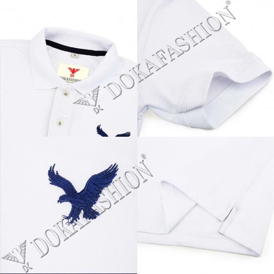 Áo thun nam có cổ polo dokafashion, combo 2 áo logo thêu rất sắc xảo màu trắng, đen