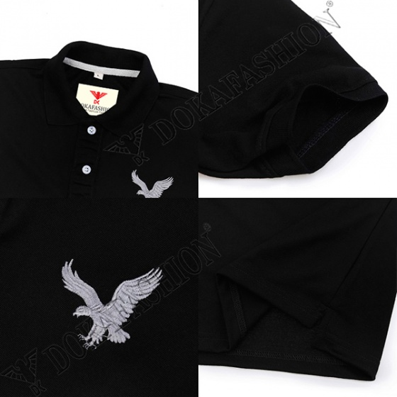 Áo thun nam có cổ polo dokafashion, combo 2 áo logo màu đen, xanh dương