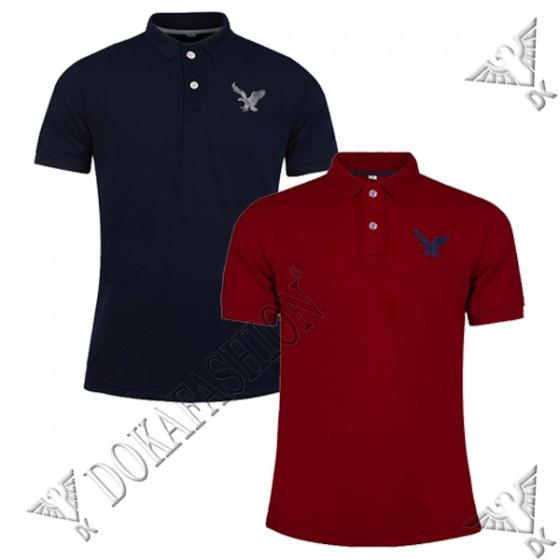 Áo thun nam có cổ polo dokafashion, combo 2 áo logo thêu rất sắc xảo màu đen, đỏ đô