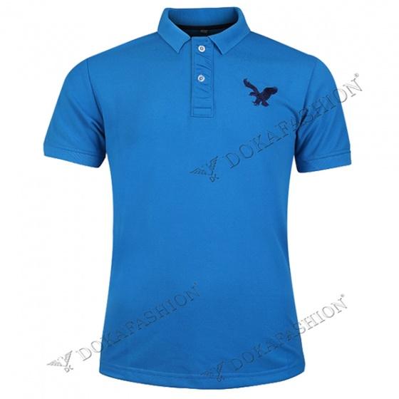 Áo thun nam có cổ polo dokafashion, combo 2 áo logo màu xanh dương, xám đậm