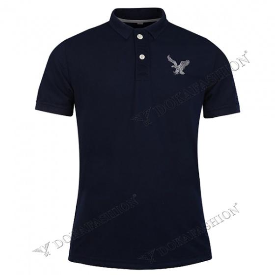 Áo thun nam có cổ polo dokafashion, combo 2 áo logo màu đen, xanh đen