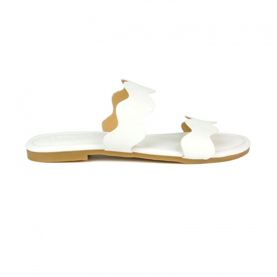 Dép da nữ thời trang êm chân SUNDAY DD52 trắng