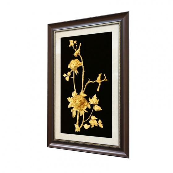 Tranh hoa mẫu đơn 3D mạ vàng 24K cỡ lớn