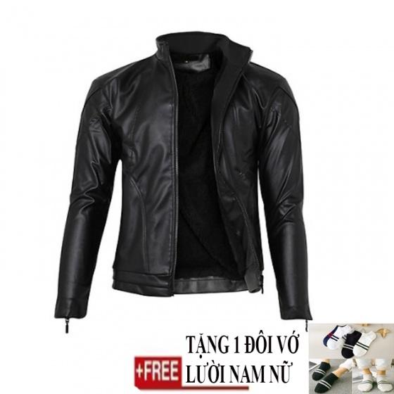 Áo khoác da nam lót lông Modelfashion phong cách Hàn Quốc AKD014 - tặng 1 đôi vớ