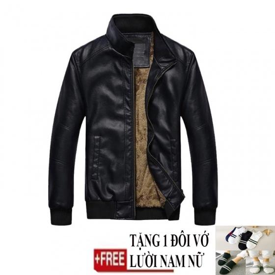 Áo khoác da nam lót lông Modelfashion phong cách Hàn Quốc AKD033 - tặng 1 đôi vớ