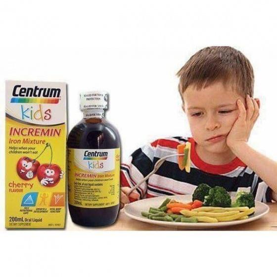 Siro cho trẻ biếng ăn Centrum Kids Incremin Iron Mixture Cherry Flavour 200ml