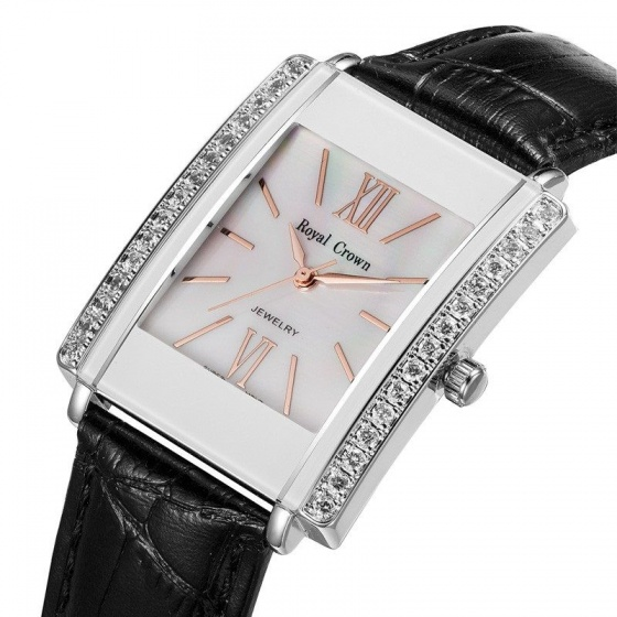 Đồng hồ nữ chính hãng Royal Crown 3645 dây da đen