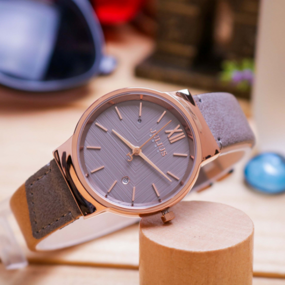 Đồng hồ nữ Julius Hàn Quốc JA-1181B dây da (xám)