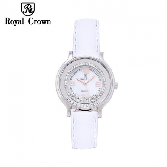 Đồng hồ nữ chính hãng Royal Crown 3638 dây da trắng