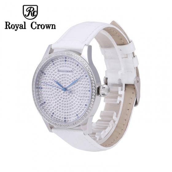 Đồng hồ nữ chính hãng Royal Crown 6118M-ST-B/A-W (dây da trắng vỏ trắng mặt full đá)