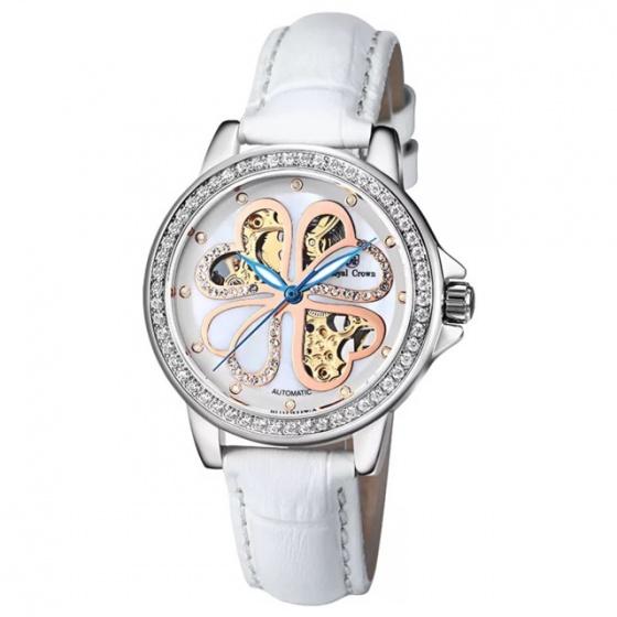 Đồng hồ nữ chính hãng Royal Crown 8450 dây da trắng Automatic (cơ tự động)