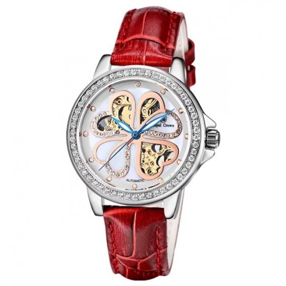 Đồng hồ nữ chính hãng Royal Crown 8450 dây da đỏ Automatic (cơ tự động)