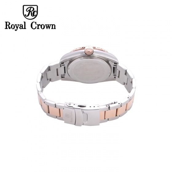 Đồng hồ nam chính hãng Royal Crown 3662M dây thép vỏ vàng hồng mặt đen