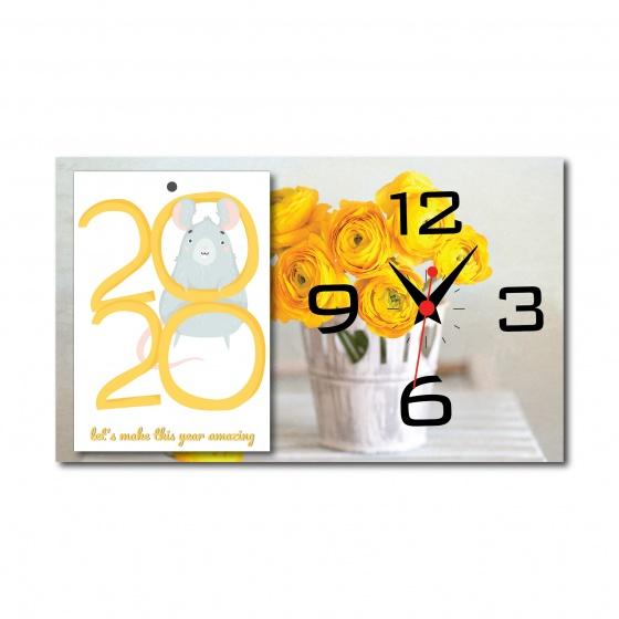 Tranh lịch đồng hồ để bàn hoa vàng (tái sử dụng được 10 năm)
