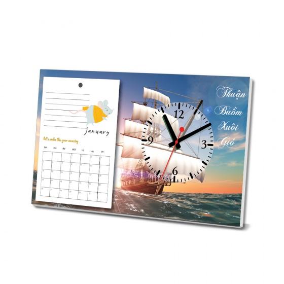 Lịch để bàn thuận buồm - tích hợp đồng hồ xem giờ (tái sử dụng trong vòng 10 năm)