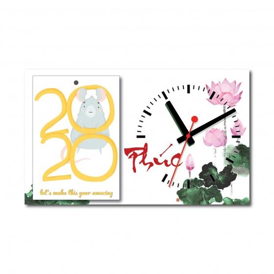 Lịch để bàn thư pháp chữ phúc - tích hợp đồng hồ xem giờ (tái sử dụng được 10 năm)