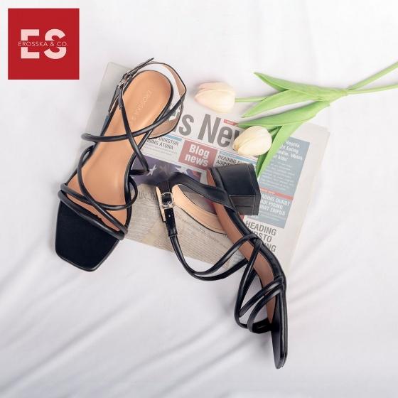 Giày nữ, giày cao gót vuông block heels erosska hở mũi quai mảnh thời trang cao 5 phân EB008 (NU)
