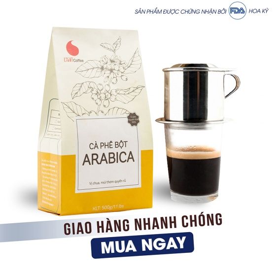 Cà phê bột Arabica Light Coffee - gói 500g tặng Matcha sữa Aiko gói 50g