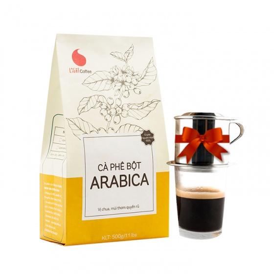 Cà phê bột Arabica Light Coffee - gói 500g tặng phin inox pha cafe