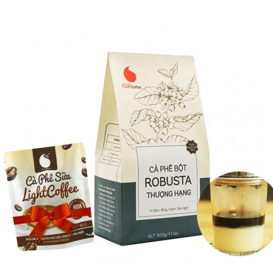 Cafe bột thượng hạng Light Coffee 500g tặng cà phê sữa 50g