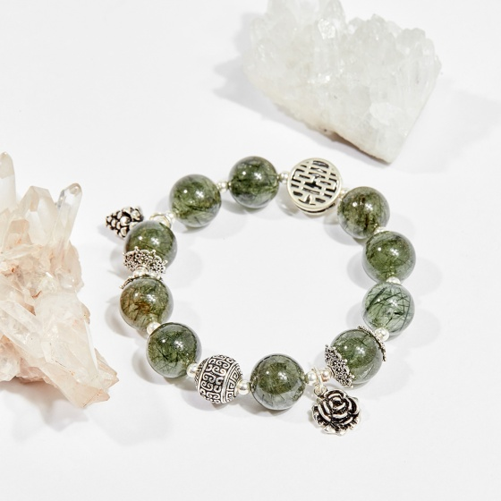 Vòng tay phong thủy đá thạch anh tóc xanh charm hoa hồng 12mm mệnh hỏa, mộc - Ngọc Quý Gemstones