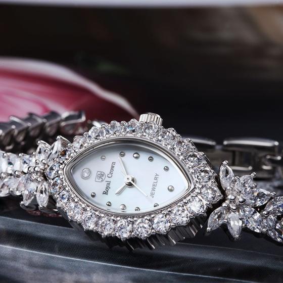 Đồng hồ nữ chính hãng Royal Crown 3588 dây đá vỏ trắng