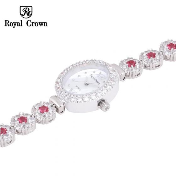 Đồng hồ nữ chính hãng Royal Crown 1516 dây đá vỏ trắng đá ruby