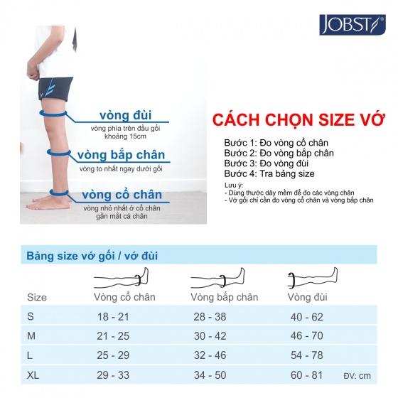 Vớ y khoa gối điều trị suy giãn tĩnh mạch chân Jobst Relief chuẩn áp lực 20-30mmHg,màu đen,size XL (tất y khoa)