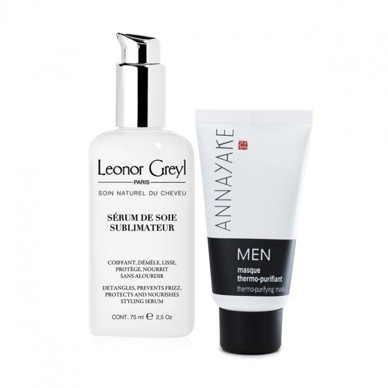 Combo mặt nạ làm sạch da dành cho nam Annayake và Serum dưỡng suôn mượt tóc 48h, chống tia UV Leonor Greyl