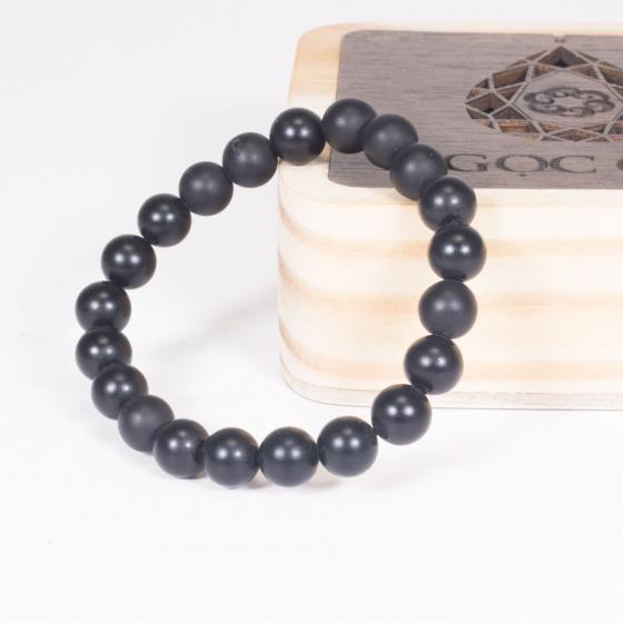Vòng tay phong thủy đá obsidian nhám 8mm mệnh thủy , mộc - Ngọc Quý Gemstones