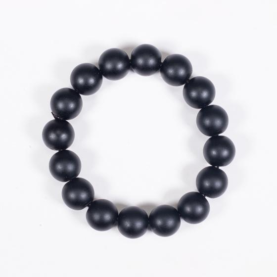 Vòng tay phong thủy đá obsidian nhám 12mm mệnh thủy , mộc - Ngọc Quý Gemstones