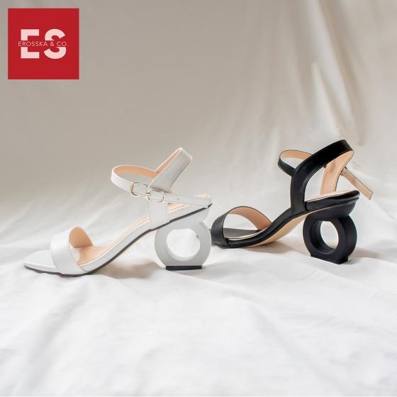 Giày nữ, giày cao gót vuông thời trang erosska hở gót quai hậu tinh tế cao 5cm EB009 (WH)
